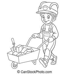 builder carrying bricks