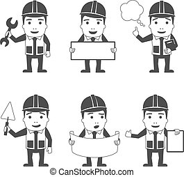Builder manual worker workman male characters black set isolated vector illustration
