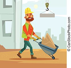 Builder. Construction industry. Vector flat cartoon...