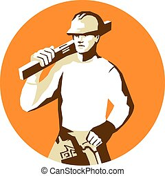 Stencil style illustration of a builder construction worker with toolbelt carrying spirit level on shoulder set inside circle on isolated background.