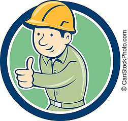 Builder Construction Worker Thumbs Up Circle Cartoon
