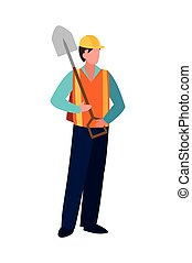 builder construction worker with shovel