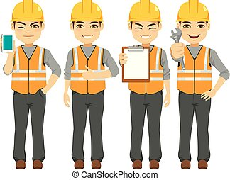 Builder Constructor Worker - Young male builder constructor...