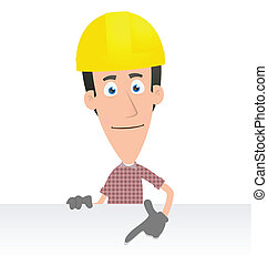 Builder - Illustration of a cartoon cute character for use...