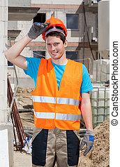 Builder during work