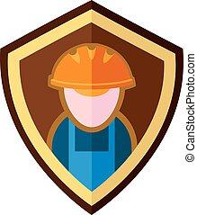 Builder emblem - Abstract emblem of the flat builder