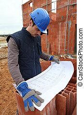 Builder examining plans
