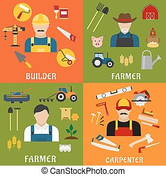 Builder, farmer and carpenter icons - Construction and...