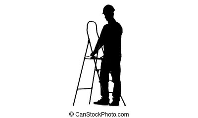 Builder folds the ladder. Silhouette. White background. Slow...