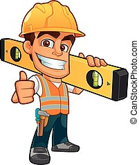 Builder - Friendly builder with helmet, carrying a level...