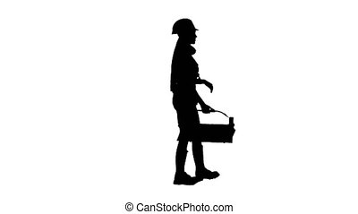 Builder girl in the helmet and the shirt goes. Silhouette. White background . Side view