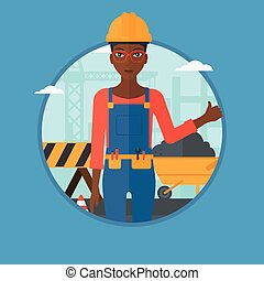 Builder giving thumb up vector illustration.