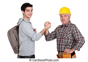 Builder greeting new worker