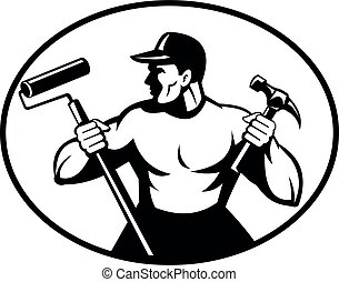 Builder Handyman Painter or Carpenter Holding Hammer and Paint Roller Retro Black and White