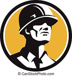 Builder Hardhat Looking Forward Circle Retro - Illustration ...