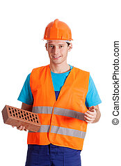 Builder holding a brick