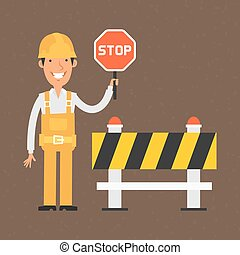 Builder holding stop sign and smiling