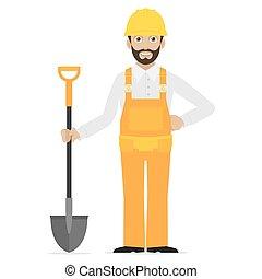 Builder holds in hand shovel - Illustration builder holds in...