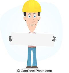 Builder holds up a poster - Illustration of a cartoon cute...