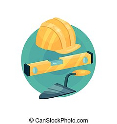 Builder icon, construction tools cartoon vector Illustration