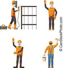 Builder icon set, cartoon style