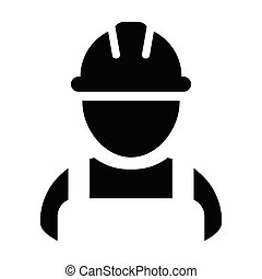 Builder icon vector male construction worker person profile avatar with hardhat helmet in glyph pictogram illustration