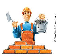 builder in helmet vector illustration isolated on white ...