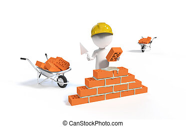 Builder in the helmet with a shovel and bricks
