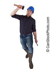 Builder lifting hammer over head