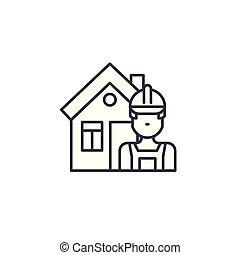 Builder linear icon concept. Builder line vector sign, symbol, illustration.