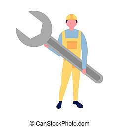 builder man holding wrench tool