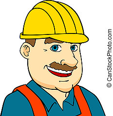 Builder man or engineer in cartoon style for construction...