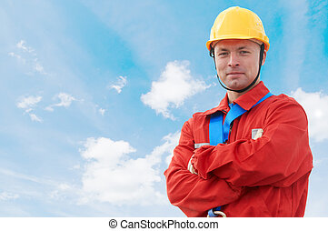 builder manager worker at construction site