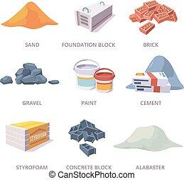 Builder materials. Construction tools pile bricks gypsum ...