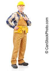 Builder - Mature handsome builder in yellow uniform....
