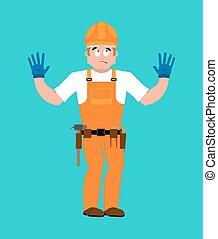 Builder oops guilty . Worker in protective helmet culpable....