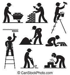 builder people icons - set black and white vector icons of...