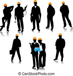 Builder people silhouette. Vector