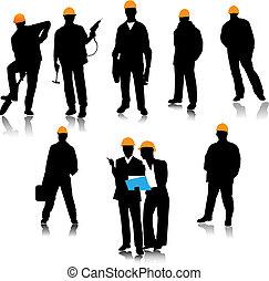 Builder people silhouette. Vector