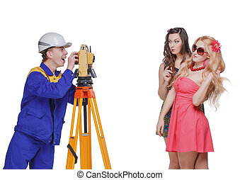 Builder pictures of girls builder white glasses isolated
