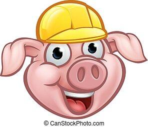 Builder Pig Cartoon Character - A builder pig cartoon...
