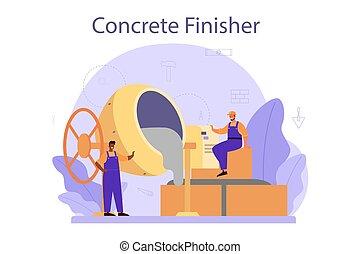 builder., preparar, concreto, trabalhador, finisher, profissional