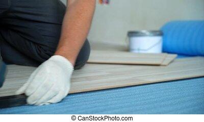Builder renovating apartment. Repair of the apartment,...