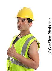 Builder repairman thumbs up