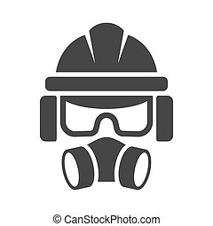 Builder Safety Helmet, Protection Glasses, Respirator and ...