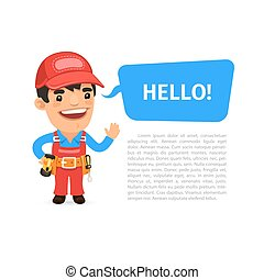 Builder Saying Hello Poster. Isolated on white background....