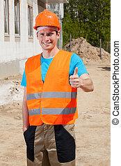 Builder showing okay gesture