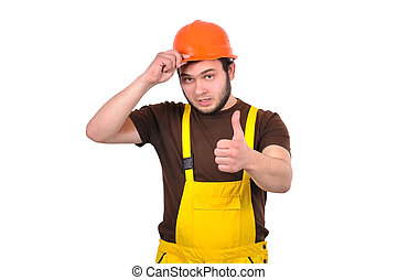 builder showing thumb up