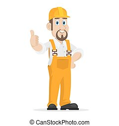 Builder shows thumbs up