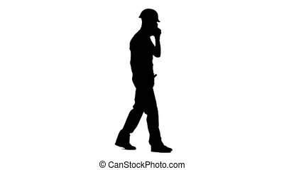 Builder speaks on the phone and screams at his subordinates. White background. Silhouette. Side view